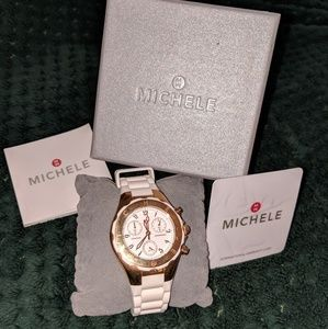 Michele White and Gold Watch with plastic band